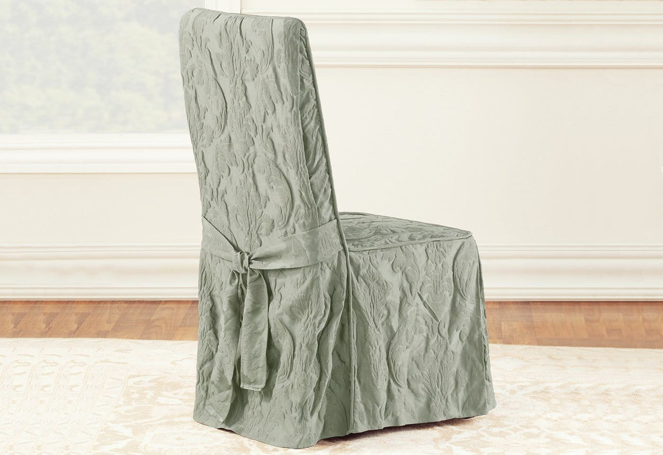 Matelasse Damask Long Dining Chair Slipcover