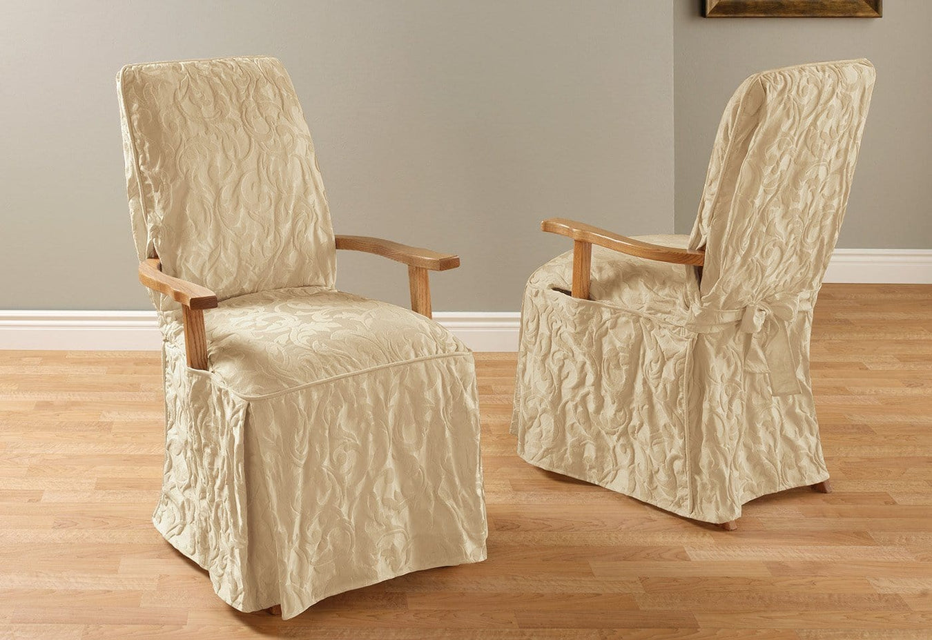 Home Furniture Diy Classic Dining Chair Cover Beige Damask Matelasse Upholstery Tie Back Cott Poly Gronn Com Br
