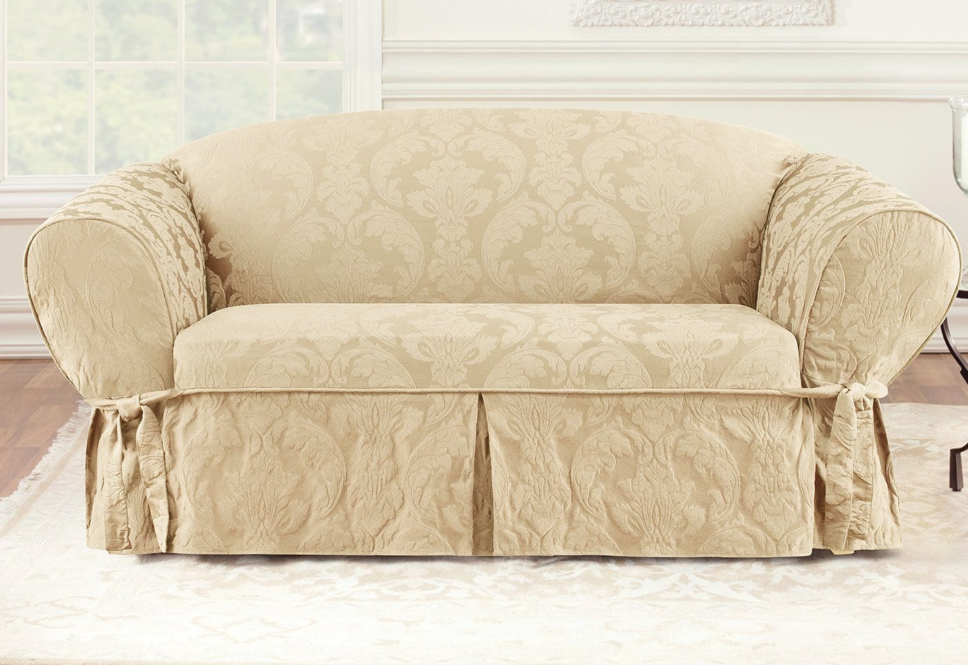 Matelasse Damask One Piece Loveseat Slipcover Surefit