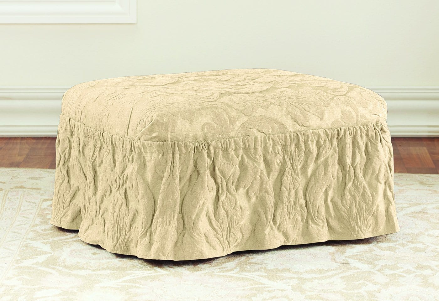 Matelasse Damask Two Piece Ottoman Slipcover
