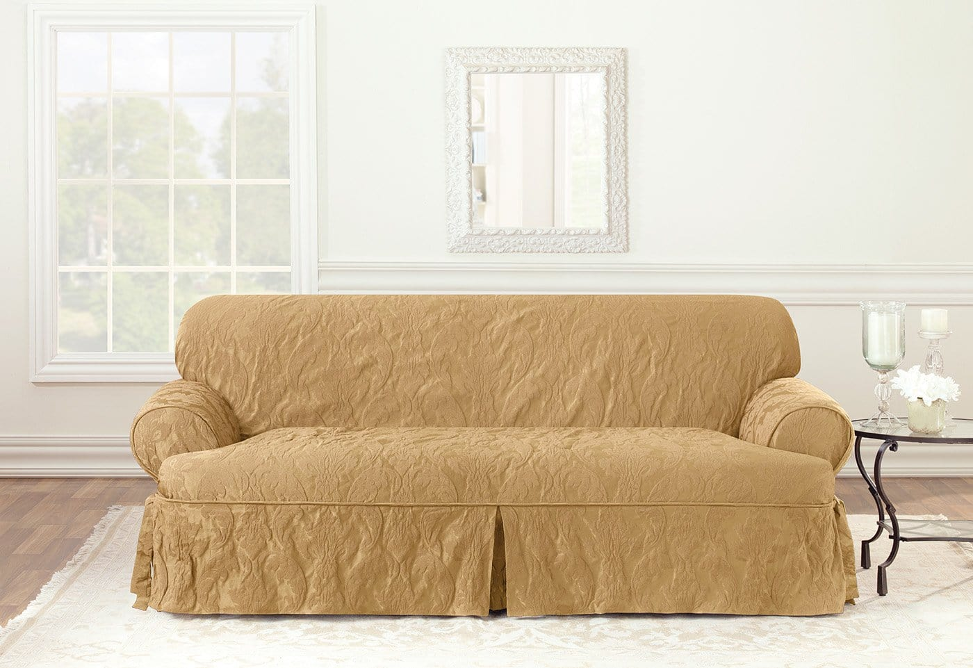 Matelasse Damask One Piece Sofa Slipcover Surefit