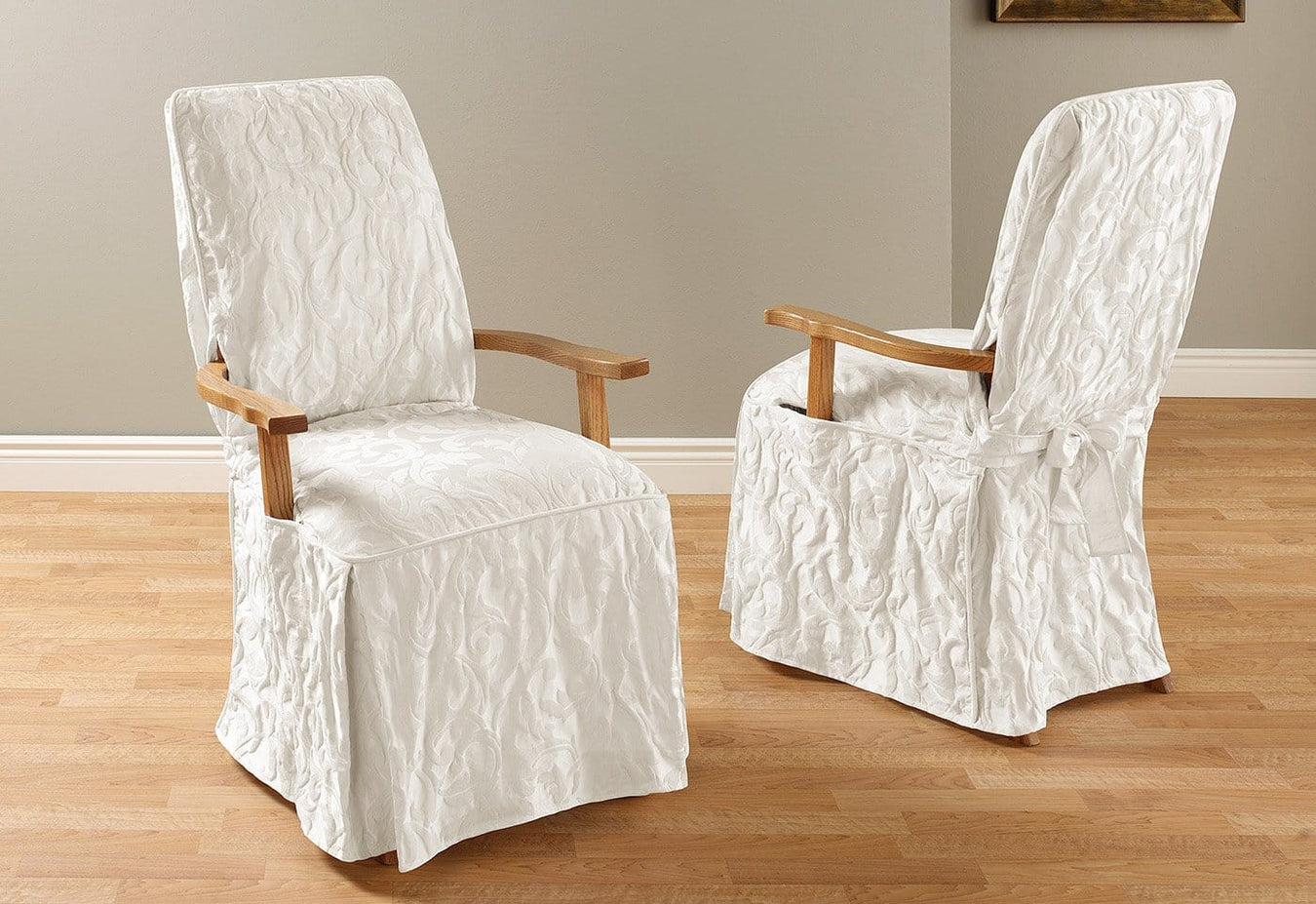 Matelasse Damask Arm Long Dining Chair Slipcover
