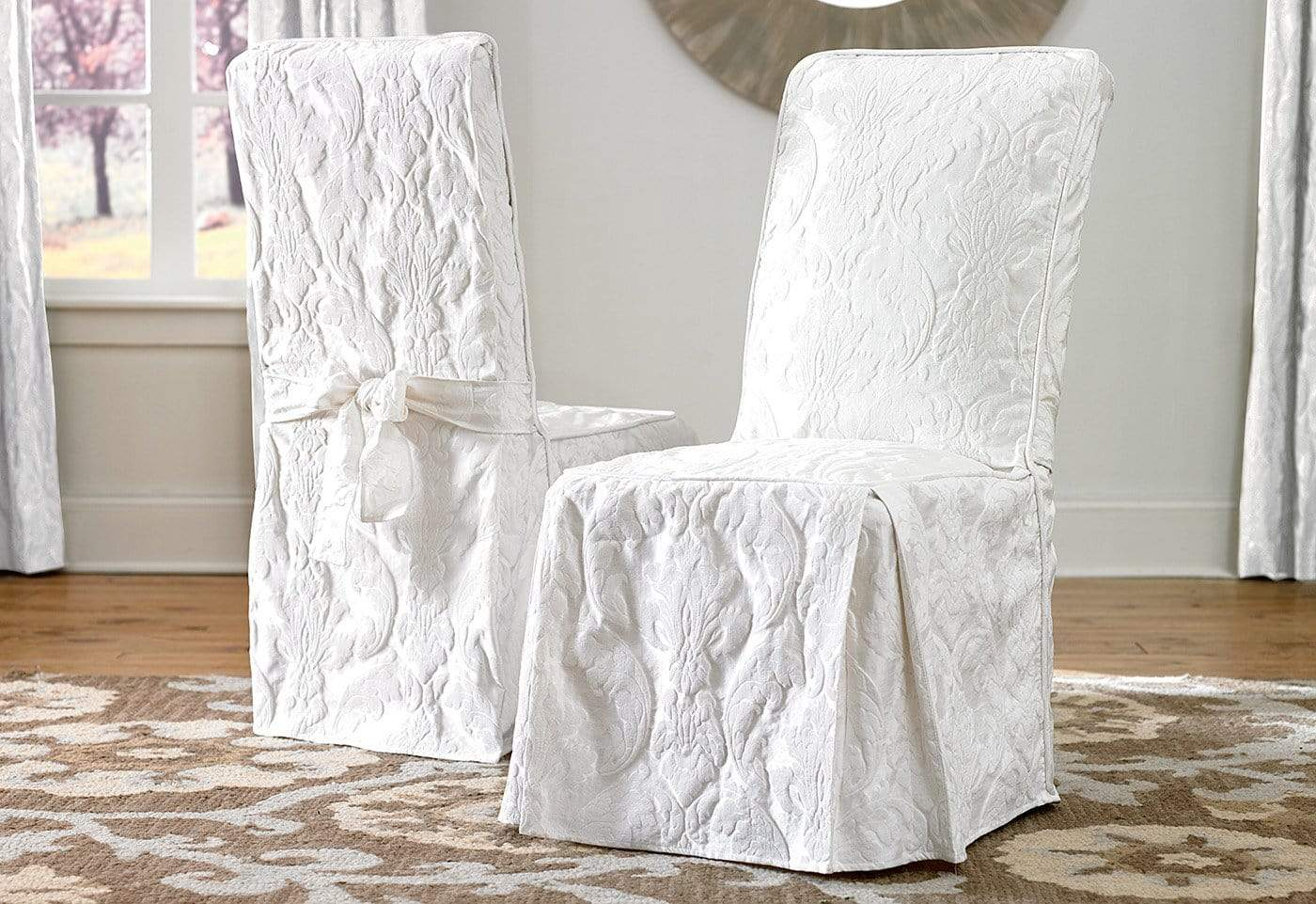 Surprising Matelasse Damask Long Dining Chair Slipcover Uwap Interior Chair Design Uwaporg