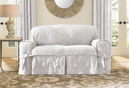Matelasse Damask One Piece Loveseat Slipcover