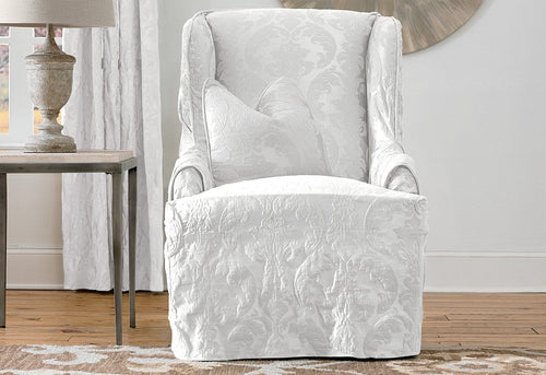Matelasse Damask One Piece Wing Chair Slipcover