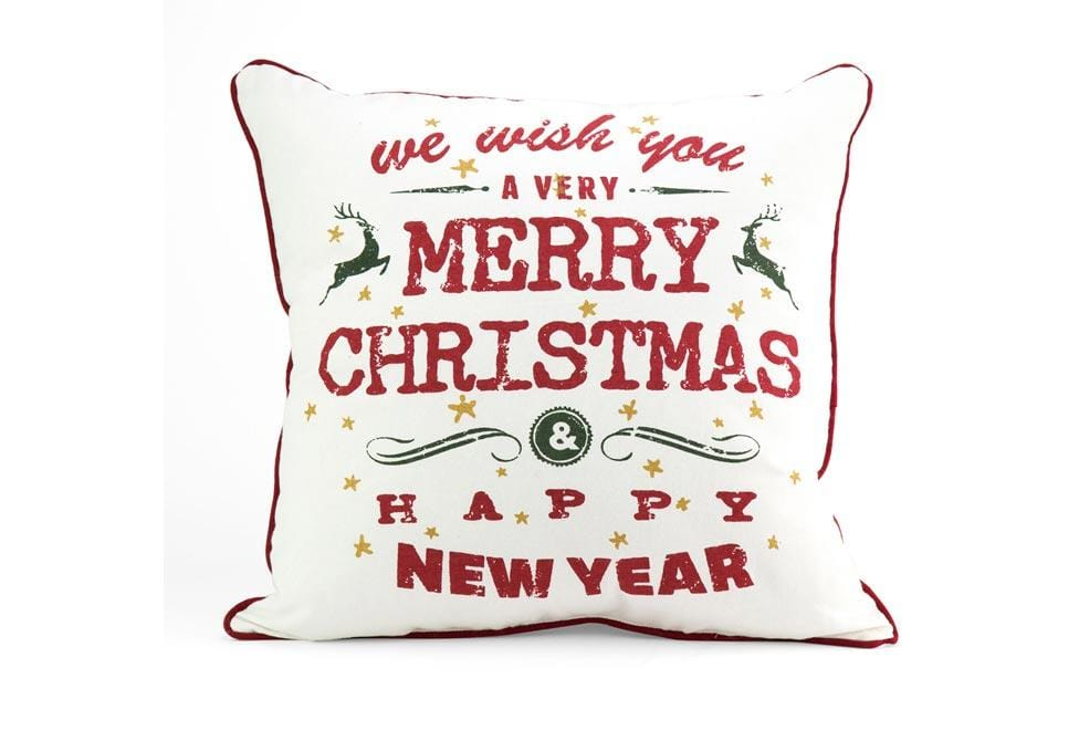 Merry Xmas Happy New Year 18 Inch Square Decorative Pillow