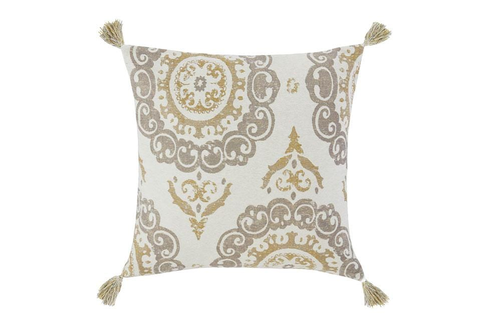 Metallic Compass 20 Inch Square Decorative Pillow