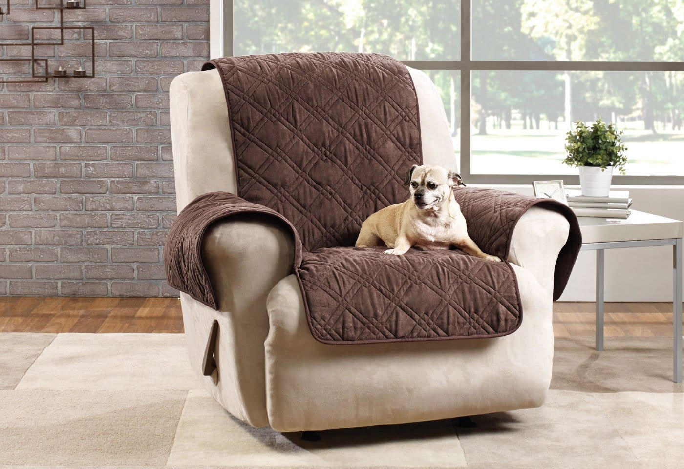 Microfiber Pet Recliner Quilted Furniture Cover Pet Furniture Cover - Recliner / Chocolate