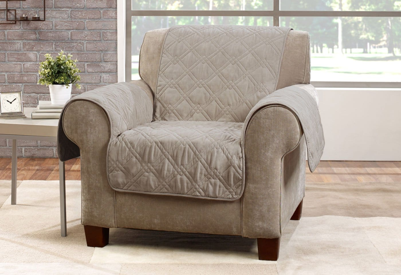 Microfiber Pet Chair Quilted Furniture Cover Pet Furniture Cover Machine Washable - Sable / Chair