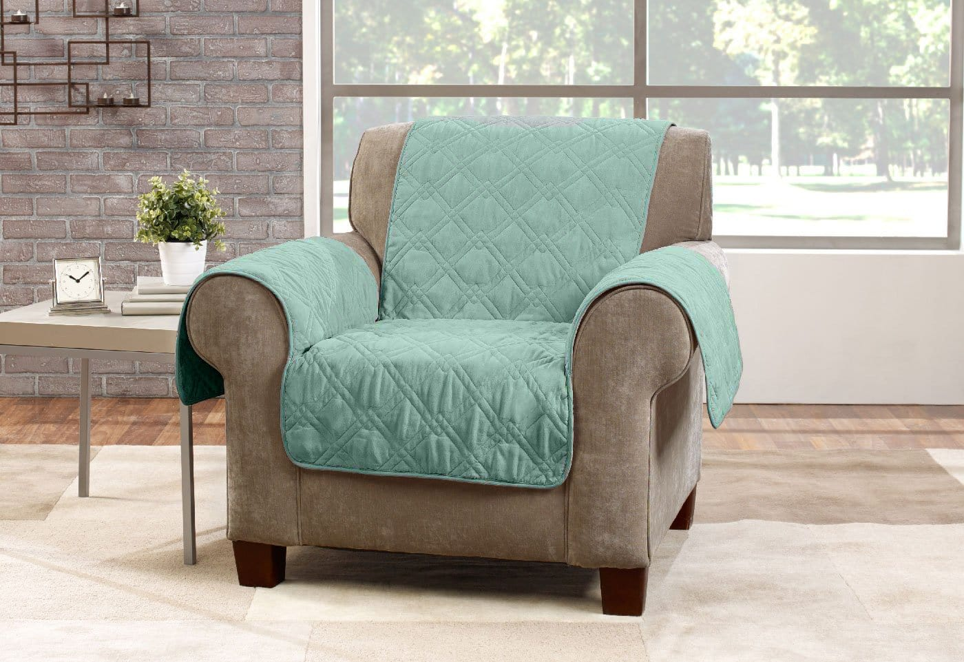 Microfiber Pet Chair Quilted Furniture Cover Pet Furniture Cover Machine Washable - Sea Glass / Chair