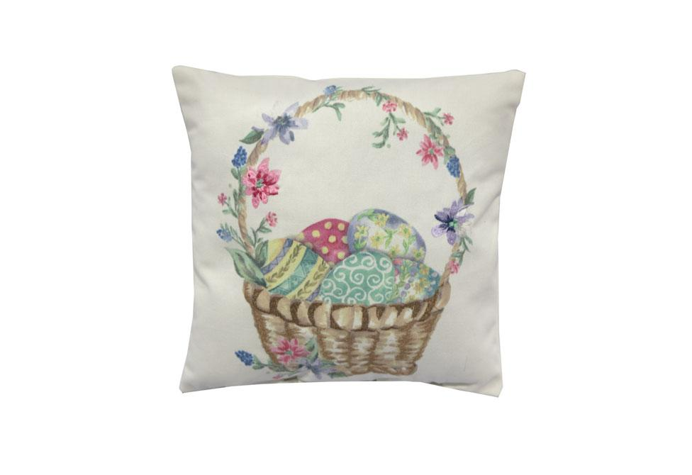 Mini Easter Basket   11 inch square Decorative Pillow