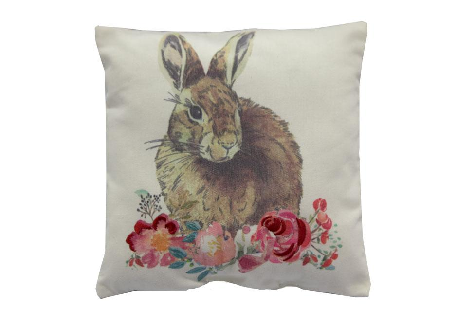 Mini Floral Bunny   11 inch square Decorative Pillow