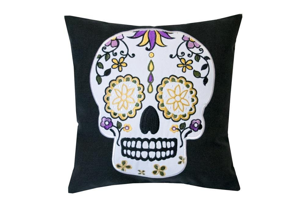 Mini Sugar Skull White Eyes 11 Inch Square Decorative Pillow