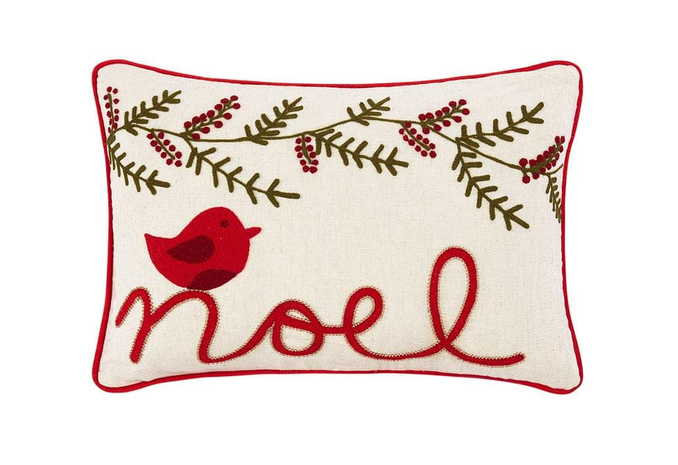 Noel Bird 12 Inch Square Decorative Pillow