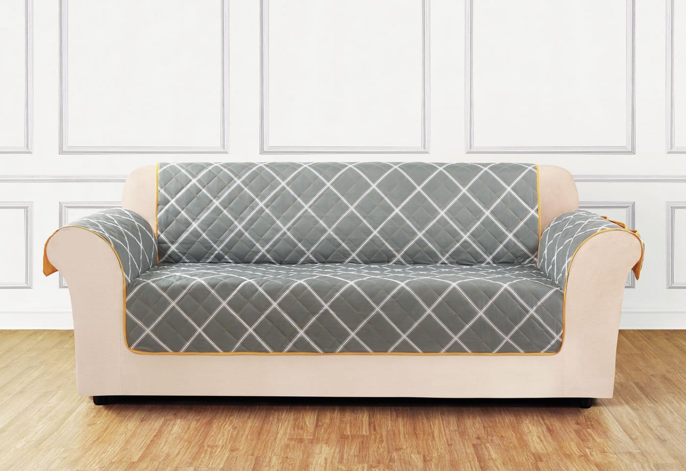 Furniture Flair Loveseat Furniture Cover 100% Polyester Pet Furniture Cover Machine Washable - Loveseat / Outline Lattice - Dark Gray