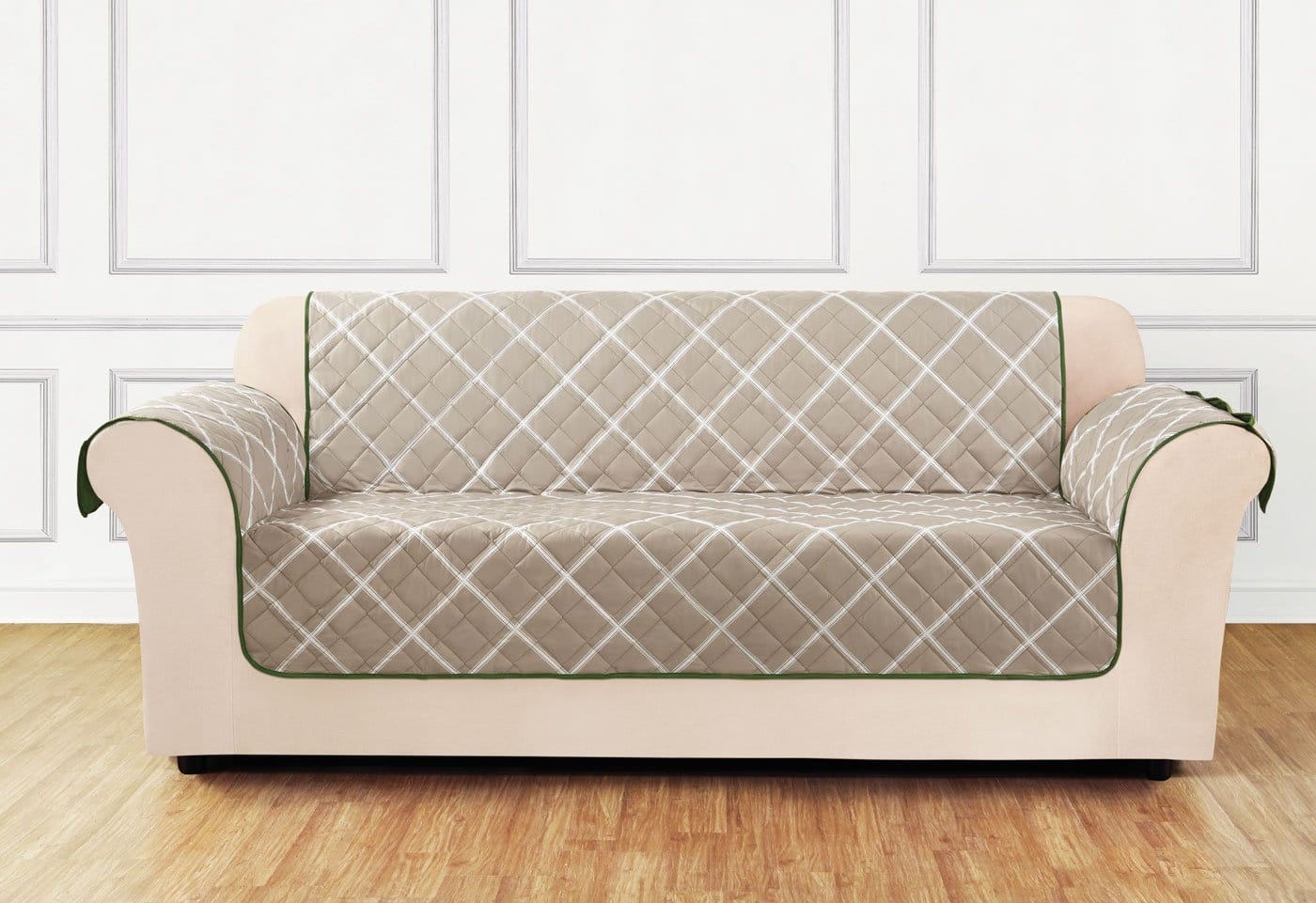 Furniture Flair Loveseat Furniture Cover 100% Polyester Pet Furniture Cover Machine Washable - Loveseat / Outline Lattice - Tan