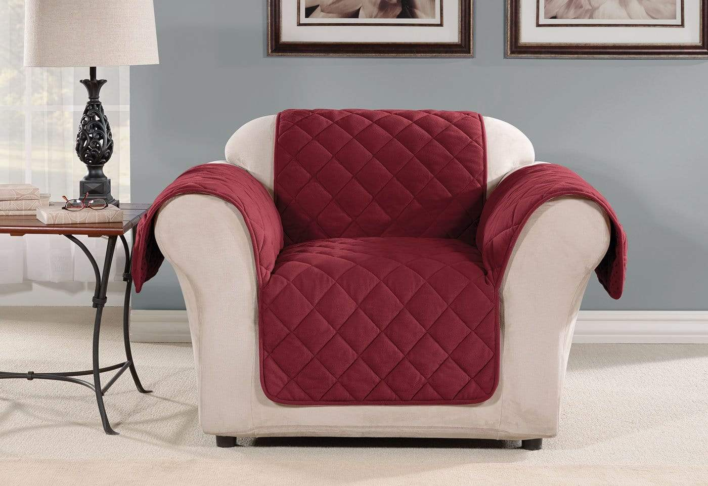 Oversized Microfleece Chair Furniture Cover Pet Furniture Cover Machine Washable - Chair / Burgundy