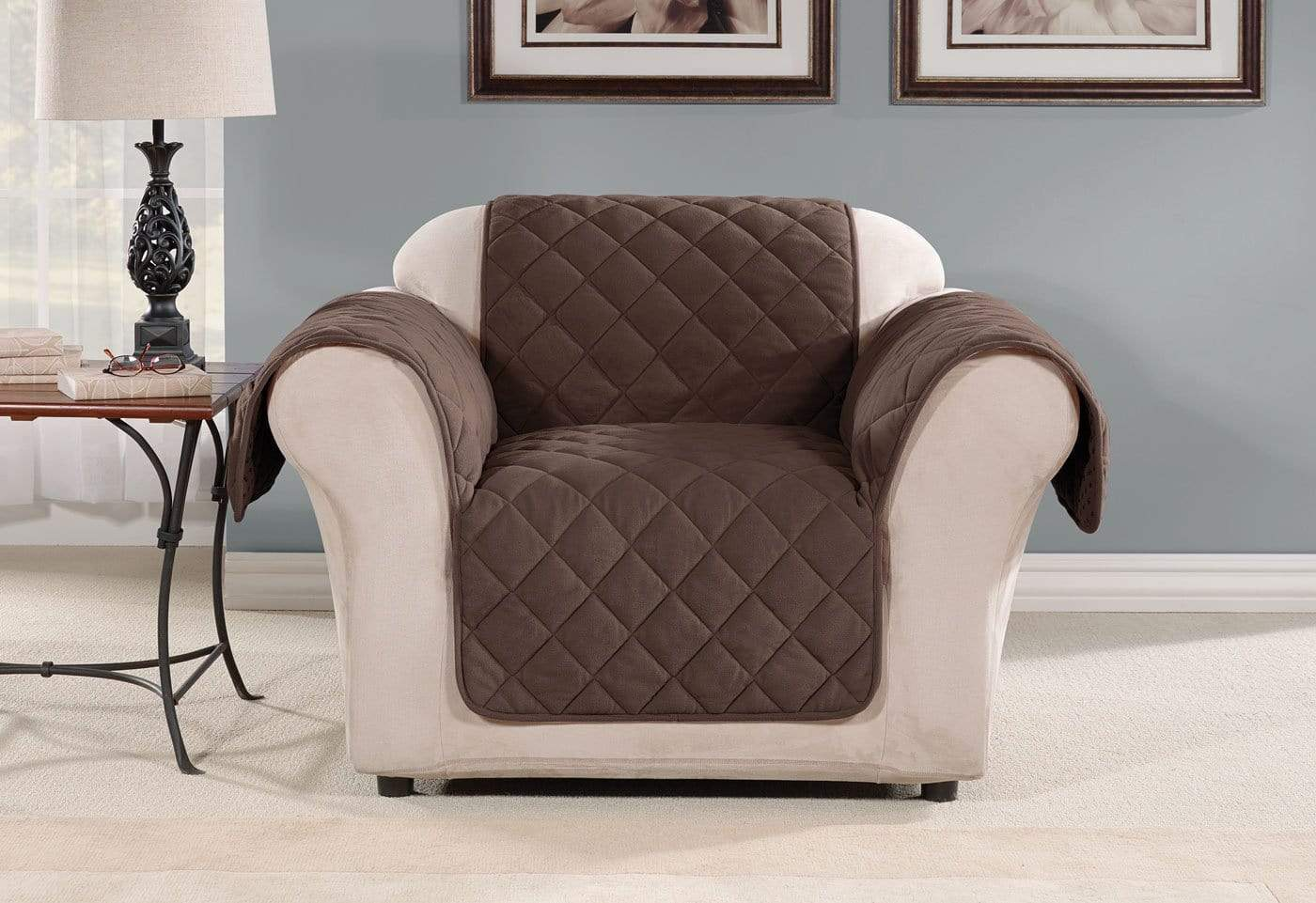 Oversized Microfleece Chair Furniture Cover Pet Furniture Cover Machine Washable - Chair / Chocolate
