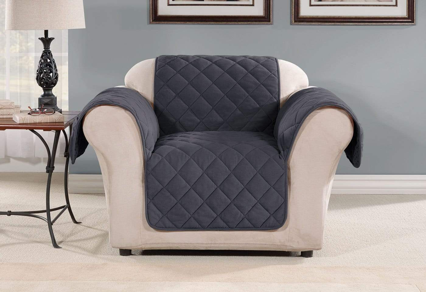 Oversized Microfleece Chair Furniture Cover Pet Furniture Cover Machine Washable - Chair / Storm Blue