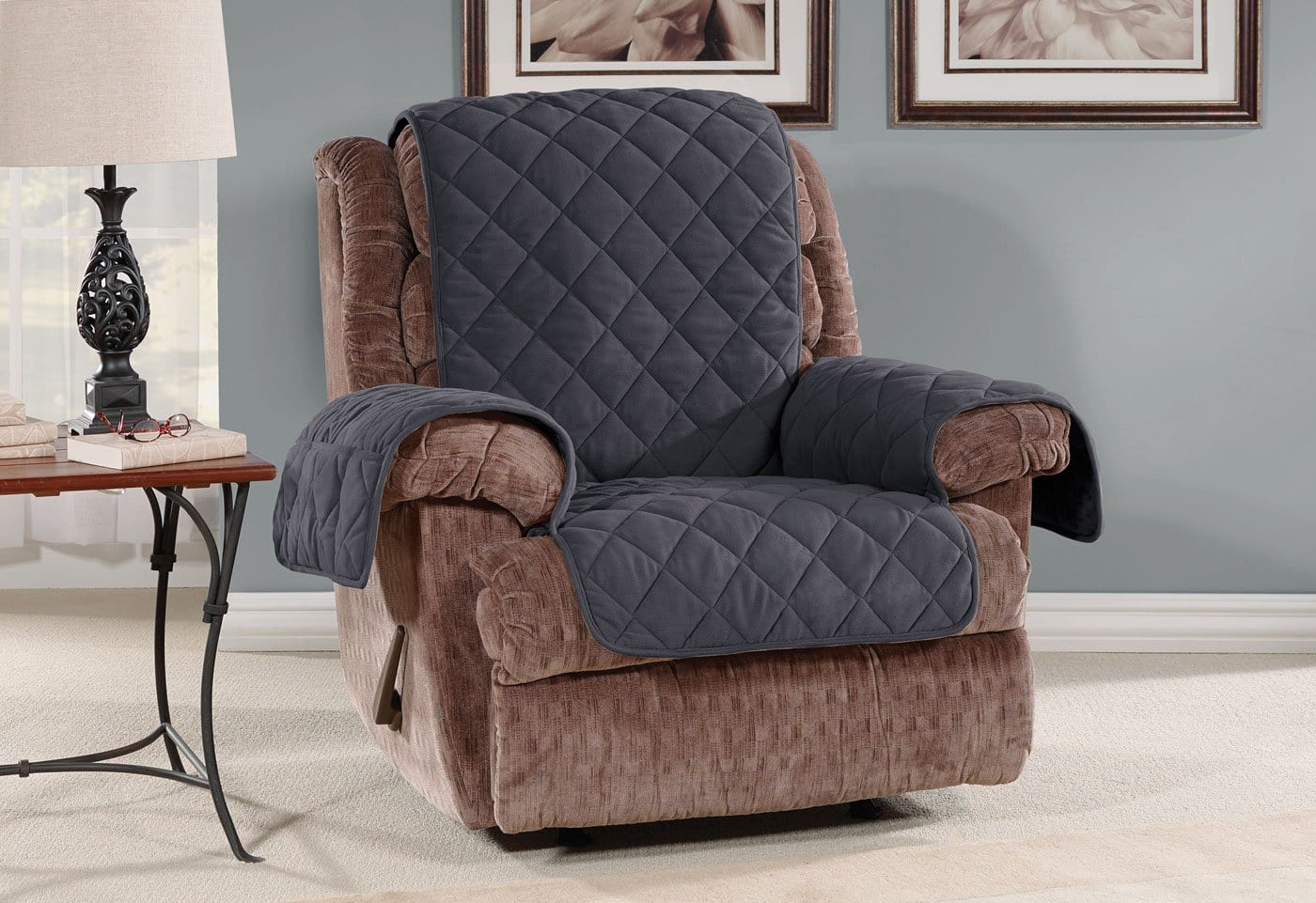 Oversized Microfleece Recliner Furniture Cover Pet Furniture Cover Machine Washable - Recliner / Storm Blue