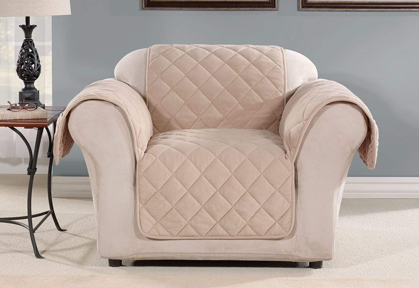 Oversized Microfleece Chair Furniture Cover Pet Furniture Cover Machine Washable - Chair / Taupe