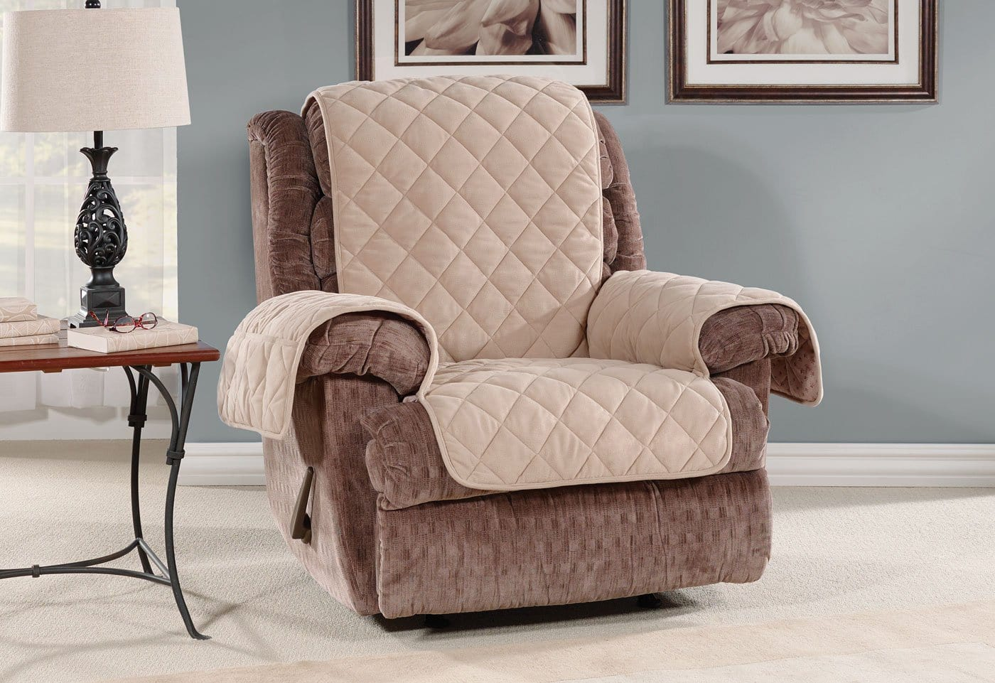 Oversized Microfleece Recliner Furniture Cover Pet Furniture Cover Machine Washable - Recliner / Taupe