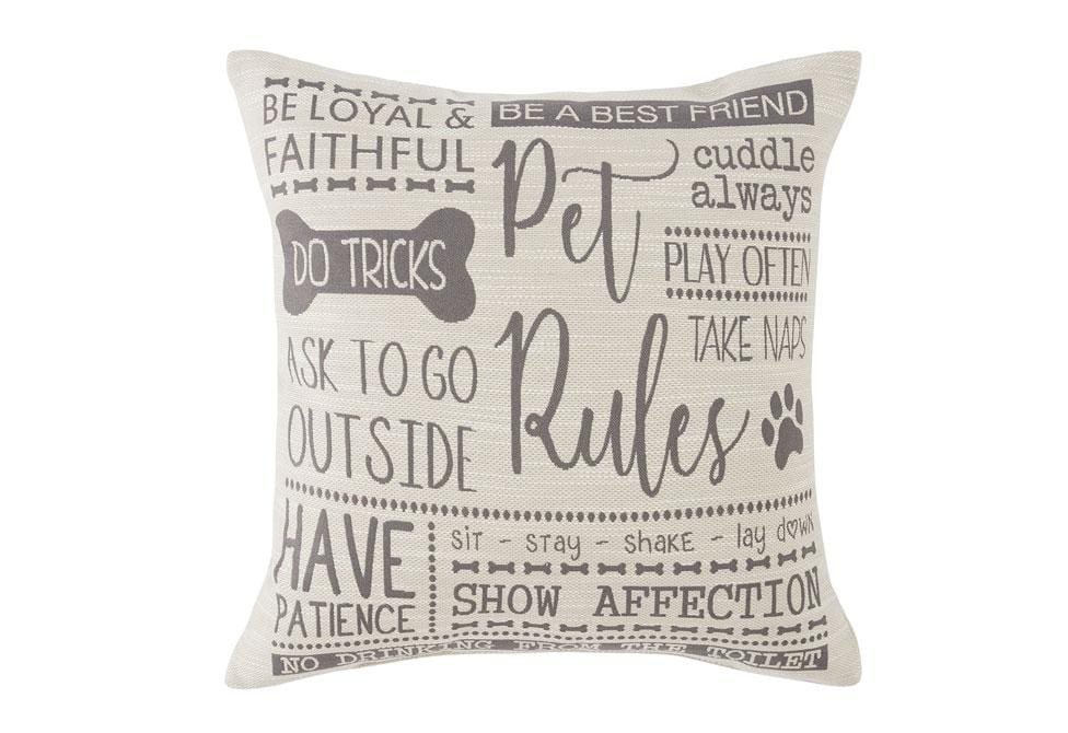 Pet Rules 20 Inch Square Decorative Pillow