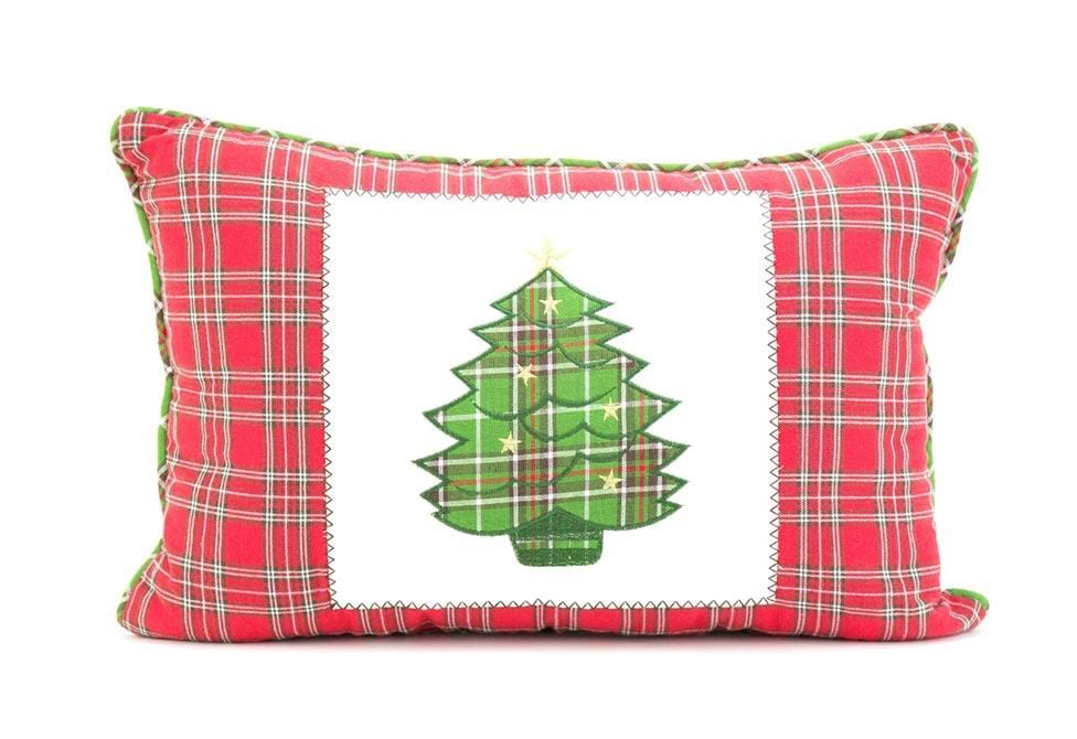 Plaid Trees 14 Inch X 20 Inch Decorative Pillow