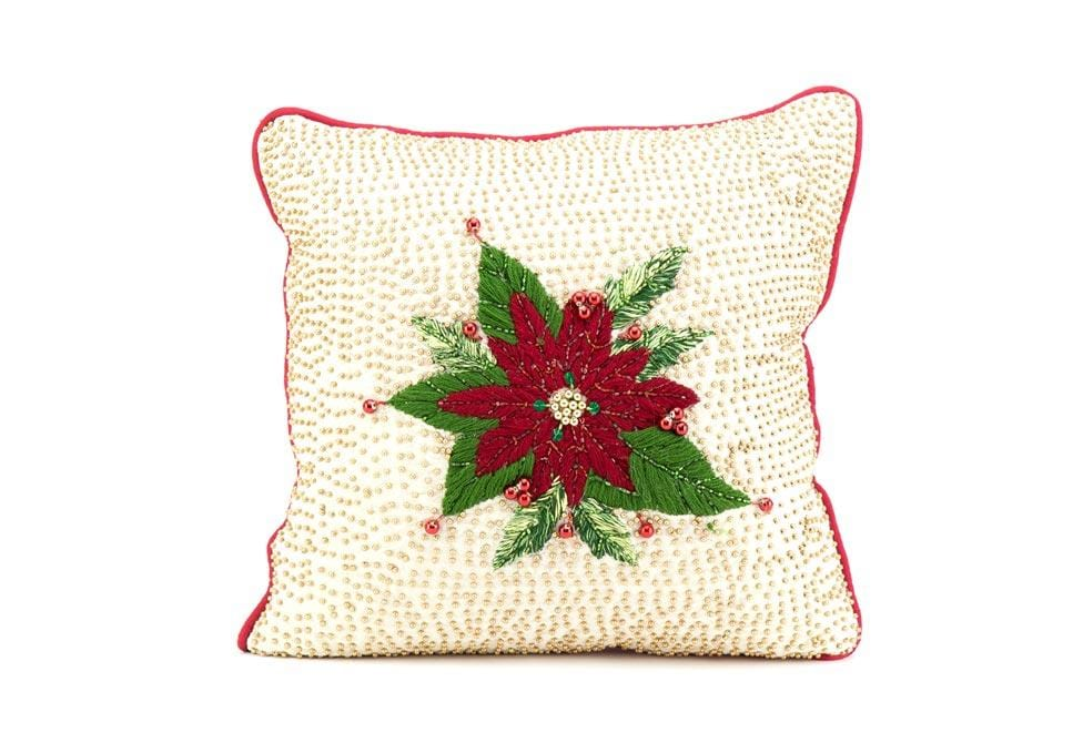 Poinsettia Plaid 14 Inch Square Decorative Pillow