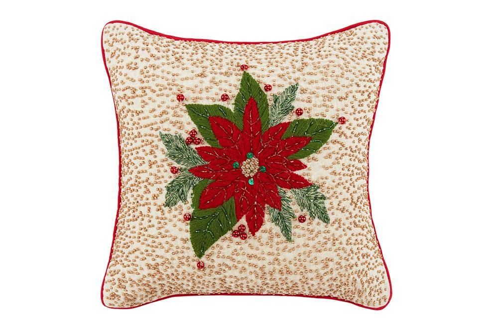 Poinsettia 14 Inch Square Decorative Pillow