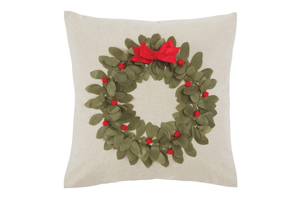 Pom Pom Wreath 18 Inch Square Decorative Pillow