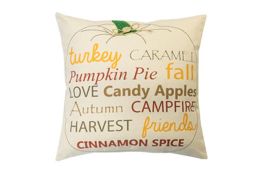 Pumpkin Words 18 Inch Square Decorative Pillow
