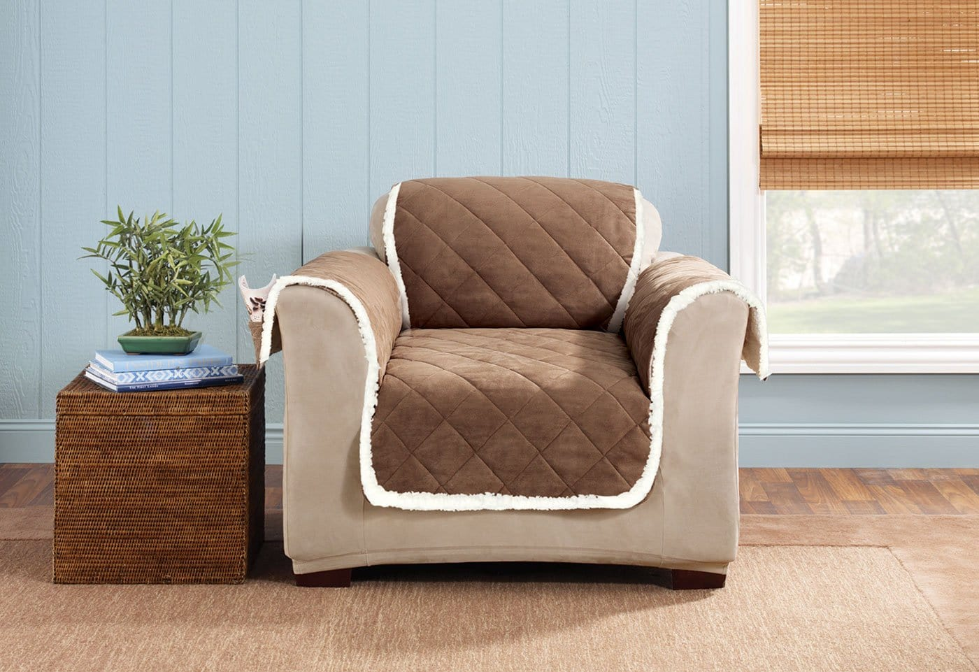 Soft Suede & Sherpa Chair Furniture Cover 100% Polyester Pet Furniture Cover Machine Washable - Chair / Brown/Cream
