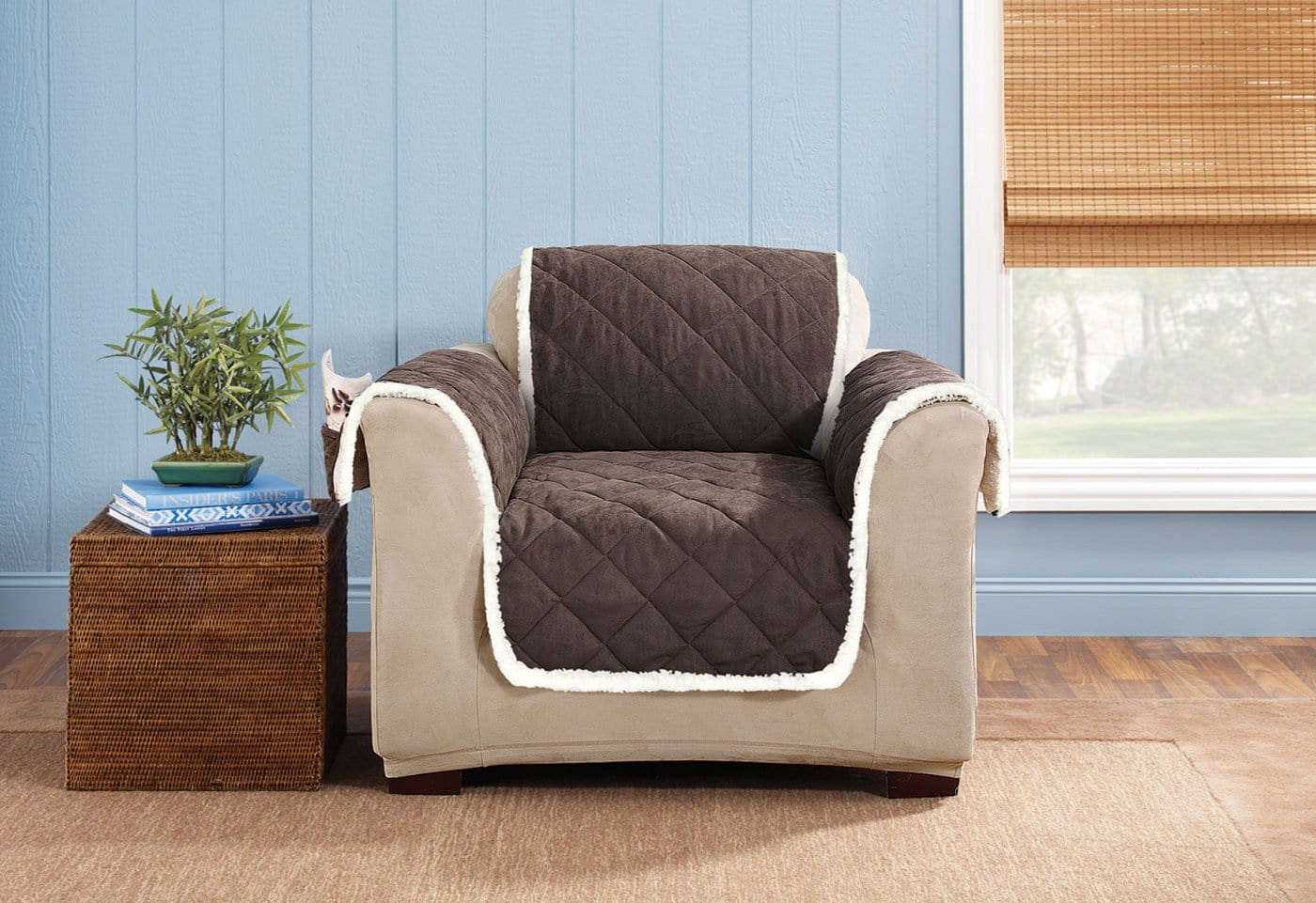 Soft Suede & Sherpa Chair Furniture Cover 100% Polyester Pet Furniture Cover Machine Washable - Chair / Chocolate/Cream