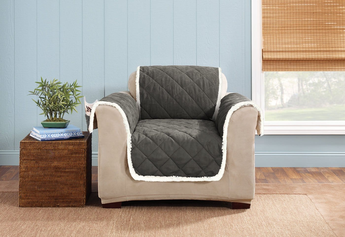 Soft Suede & Sherpa Chair Furniture Cover 100% Polyester Pet Furniture Cover Machine Washable - Chair / Graphite/Cream
