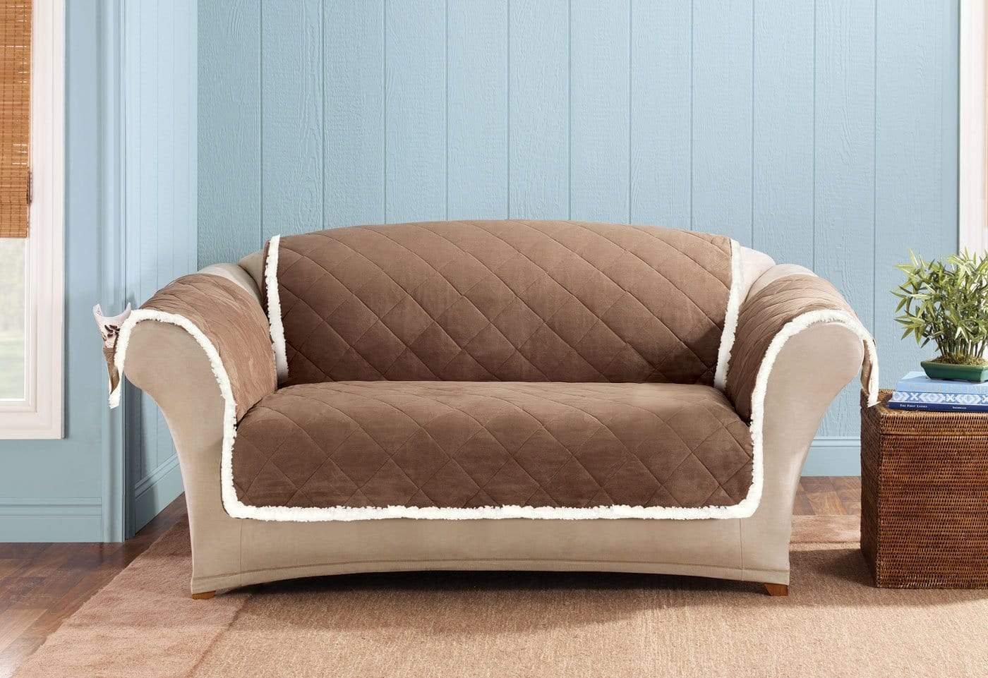 Soft Suede & Sherpa Loveseat Furniture Cover 100% Polyester Pet Furniture Cover Machine Washable - Loveseat / Brown/Cream
