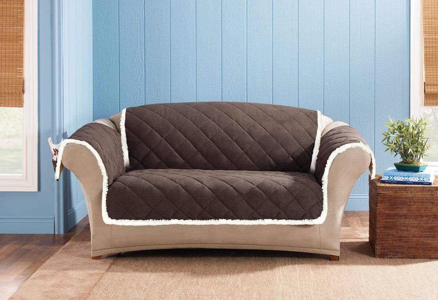 Soft Suede & Sherpa Loveseat Furniture Cover 100% Polyester Pet Furniture Cover Machine Washable - Loveseat / Chocolate