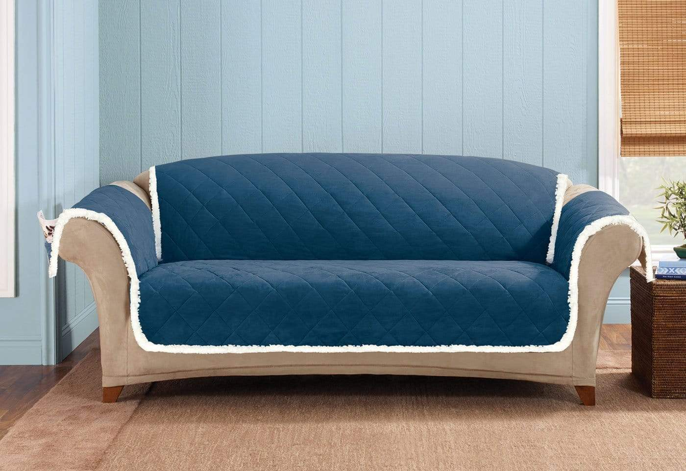 Soft Suede & Sherpa Sofa Furniture Cover 100% Polyester Pet Furniture Cover Machine Washable - Sofa / Navy