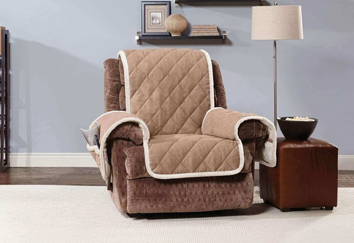 Soft Suede & Sherpa Recliner Furniture Cover 100% Polyester Pet Furniture Cover Machine Washable - Recliner / Brown/Cream