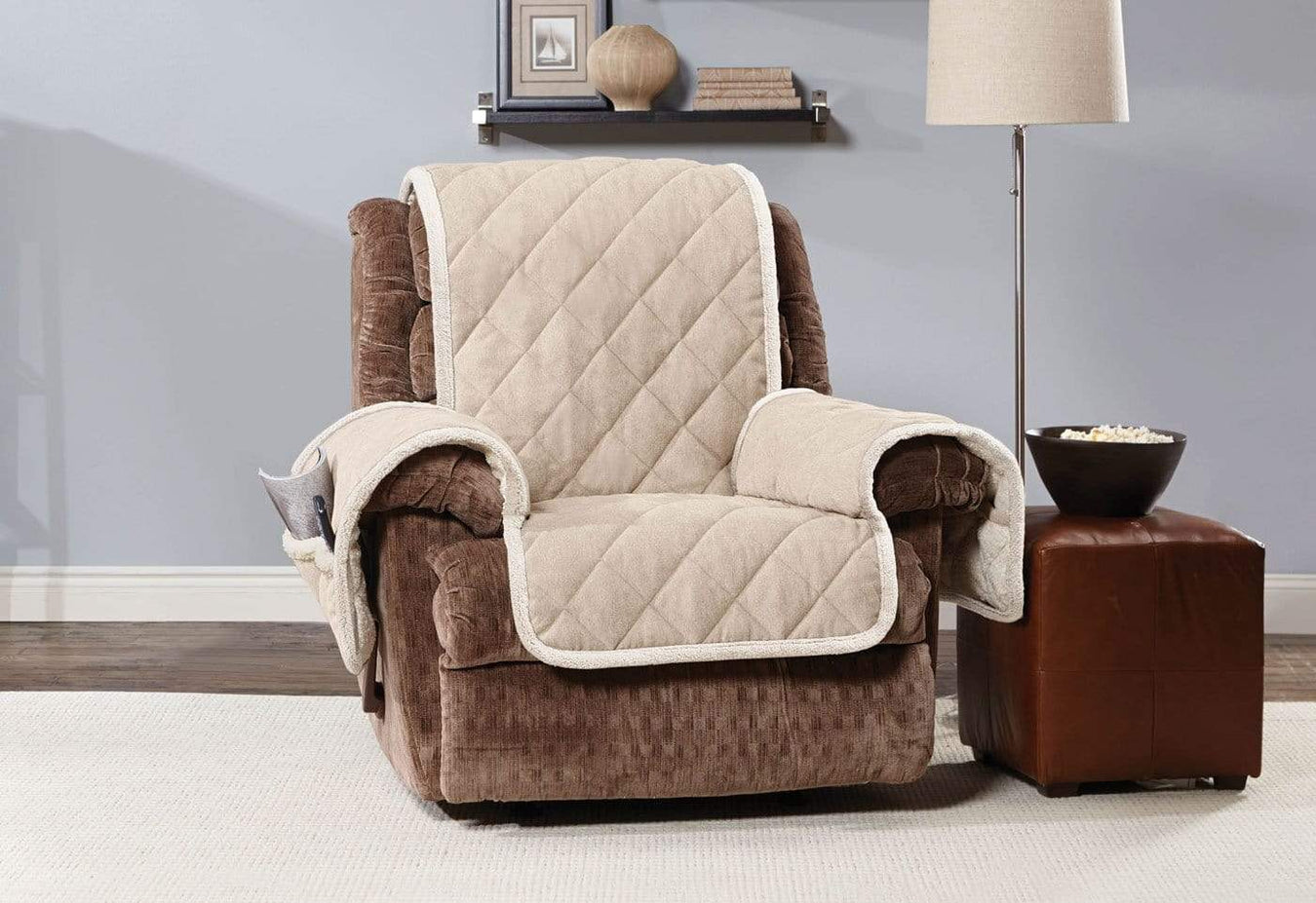 Soft Suede Amp Sherpa Recliner Furniture Cover Surefit