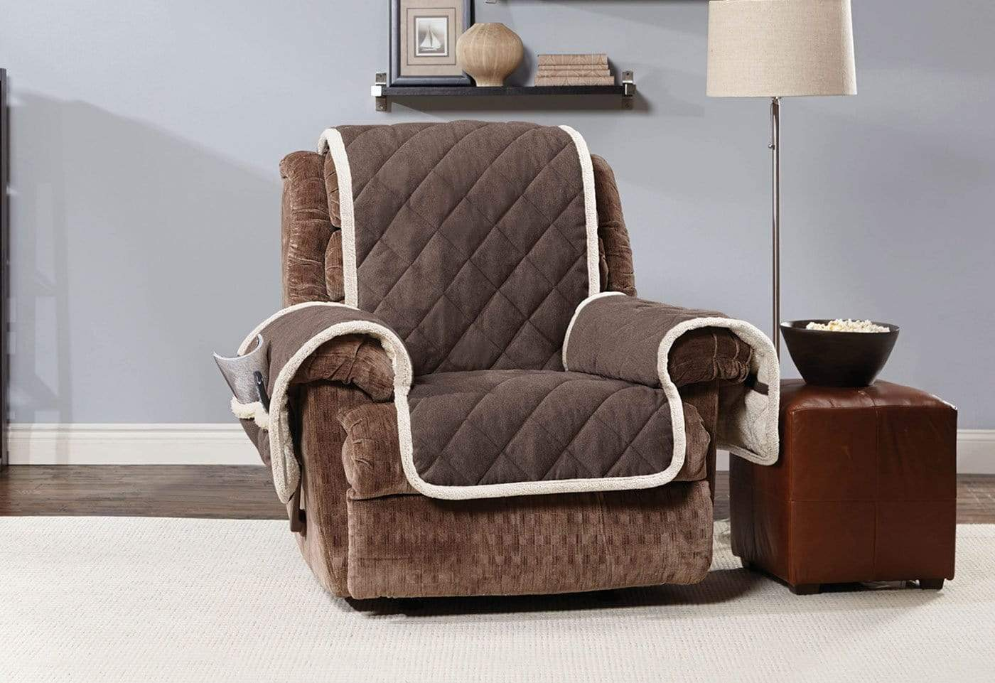 Soft Suede & Sherpa Recliner Furniture Cover 100% Polyester Pet Furniture Cover Machine Washable - Recliner / Chocolate