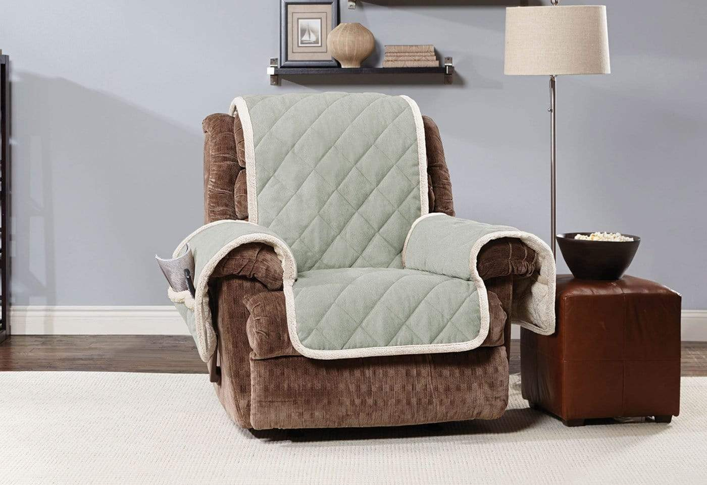 Soft Suede & Sherpa Recliner Furniture Cover 100% Polyester Pet Furniture Cover Machine Washable - Recliner / Sage