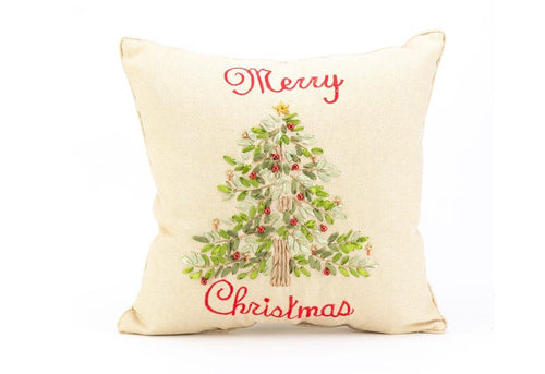 Ribboned Xmas Tree 16 Inch Square Decorative Pillow