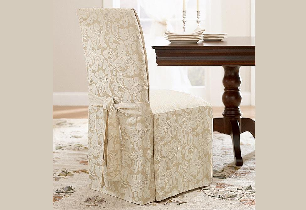 Scroll Long Dining Chair Slipcover