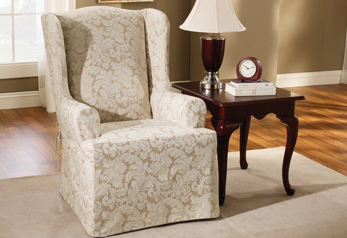 Scroll One Piece Wing Chair Slipcover