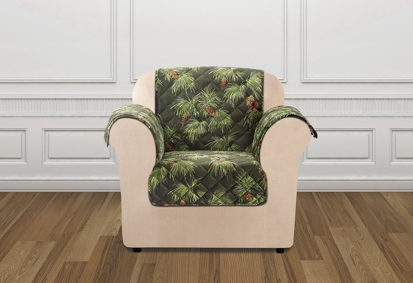 Holiday Chair Furniture Cover 100% Polyester Pet Furniture Cover Machine Washable - Chair / Pinecone Evergreen