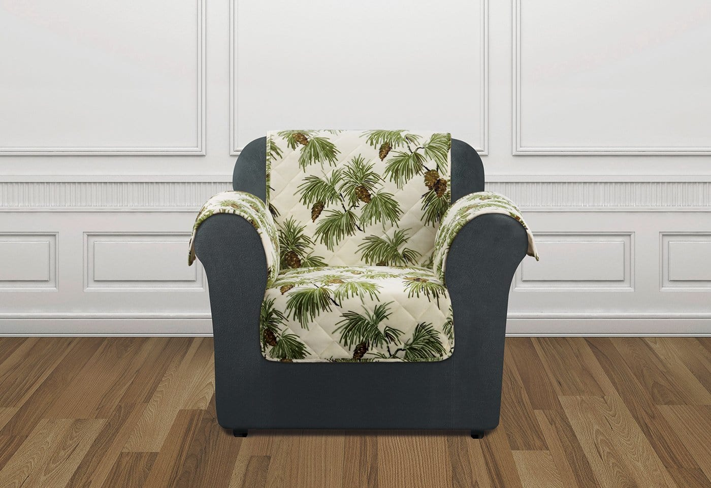 Holiday Chair Furniture Cover 100% Polyester Pet Furniture Cover Machine Washable - Chair / Pinecone Ivory