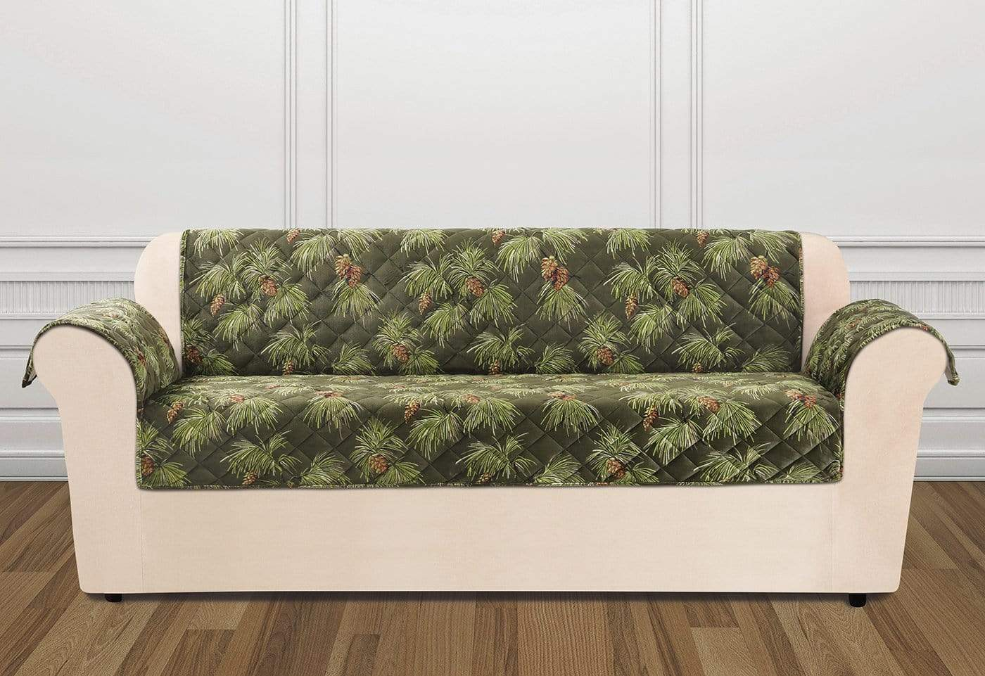Holiday Sofa Furniture Cover 100% Polyester Pet Furniture Cover Machine Washable - Sofa / Pinecone Evergreen