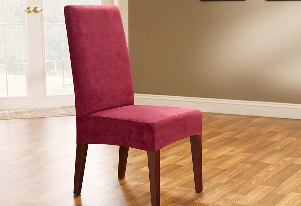 Soft Suede Short Dining Chair Slipcover