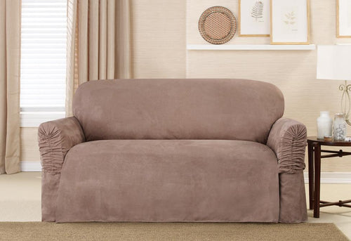 Soft Suede Cinched Arm One Piece Loveseat Slipcover